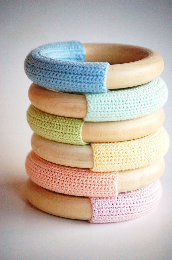 WOOD n WOOL-  PASTEL Collection- Natural Maple Wood Crochet Teething Ring Baby Toy