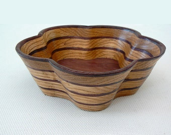 Five-Petal Striped Bowl made from Oak and Purple Heart