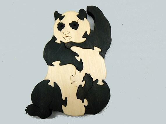 Panda Bear Wood Puzzle Educational Toy