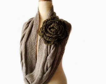 Knit Cowl Pattern, Cabled Infinity Scarf Knitting Pattern, Knit Circle Scarf Pattern, 218
