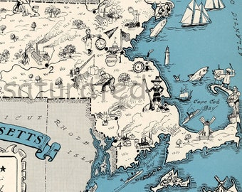 Massachusetts Map Vintage - Map Art - High Res DIGITAL IMAGE Fun 1930s Charming Vintage Picture Map - Turquoise - Cape Cod Cottage Decor