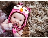 Girls Owl Hat ...Pink & Brown...Owl Ear Flap hat....size Newborn to 10 years-photography prop-winter hat-newborn hat