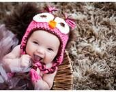 Girls Owl Hat ...Pink & Brown..size Newborn to 10 years-photography prop-winter hat-newborn hat