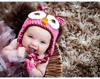 Girls Owl Hat, Pink & Brown, Newborn to womens, photography prop, winter hat, newborn hat, baby shower gift, baby hat, toddler hat,