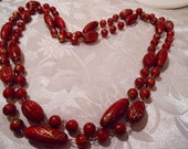Vintage necklace, cherry red necklace, red and gold necklace, 38 inch necklace,retro necklace