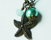 Starfish Necklace Teal Green Pearl Baby Blue Faceted Glass Wire Wrapped Brass Chain