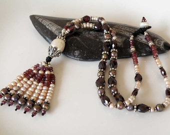 Red Garnet gemstone necklace Sterling silver - pink and white Pearls - tasseled - Ethnic jewelry