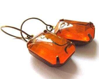 Claw Set Earrings Orange Glass Fashion Jewelry