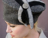 Felted Recycled Wool Soft Structure Hat, Gray and Black