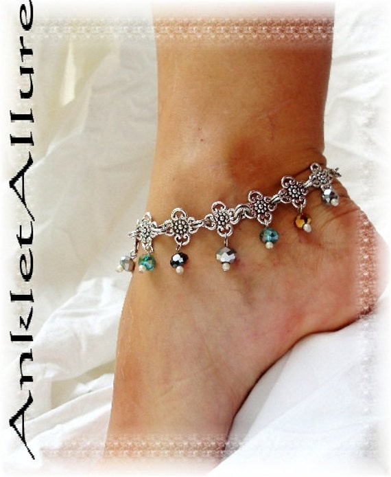 Elegant Crystal Belly Dance Gypsy Anklet Bronze Aqua Unique Silver Clover Chain Ankle Bracelet