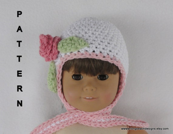 Crochet Hat Pattern American Girl Doll : Crochet Doll Hat Pattern Rosebud Doll Earflap Hat pattern