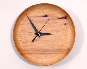 Wood Wall Clock, Pecan Wood Clock, Funky Off-Center Dial
