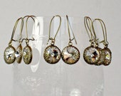 Earrings FIVE SETS for WEDDING Bridal Party, Antique Brass with Swarovski Crystal on Kidney Shaped Wires, Bridesmaid Gifts