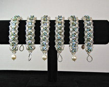 Peacock Bracelets SET OF SIX for Peacock Weddings, Bridesmaid Gifts, Bridal Party Gifts, Peacock Themed Wedding