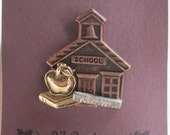 Back to School Pin- Apple with Book, School, Ruler- Great gift for teacher, bus driver, student or education worker