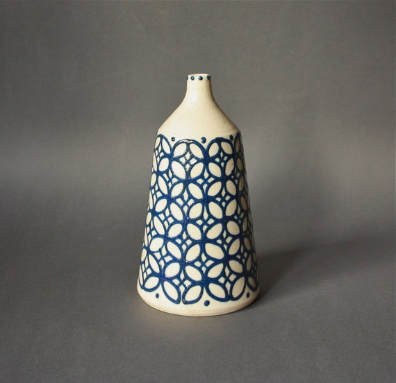 Vintage STUDIO Pottery Vase Patterned White and Blue
