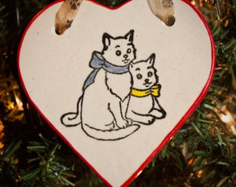 Kittens with Bows - Heart Ornament