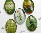 5pcs of the 18x25mm Oval Glass Cabochons Mix Cartoon Leer girl, jewelry Cabochons finding beads,Glass Cabochons, Leer girl--02