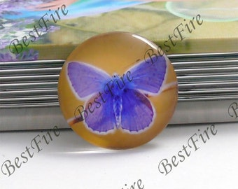 2pcs of the 25mm Round Glass Cabochons Butterfly, jewelry Cabochons finding beads,Glass Cabochons, Butterfly--10