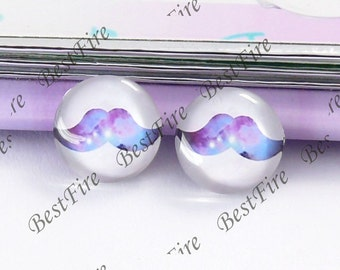 4pcs of the 12mm Round Glass Cabochons mustache, jewelry Cabochons finding beads,Glass Cabochons,moustache or whiskers--05