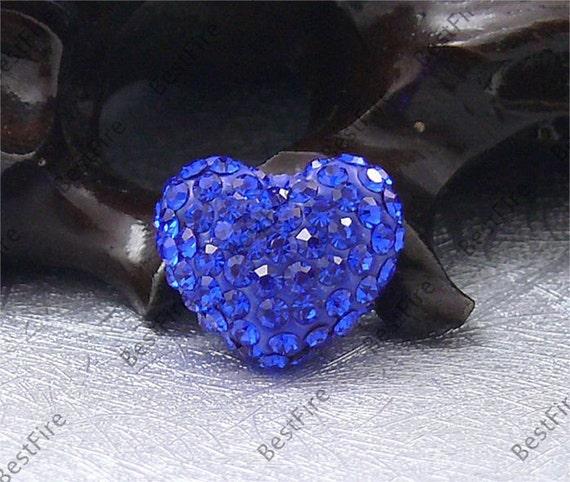 3pcs of 13x15mm Semi-Holes Blue Rhinestone Heart,Pendant findings,Rhinestone beads