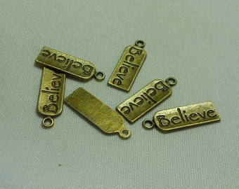 Bronze Believe Tag Charms