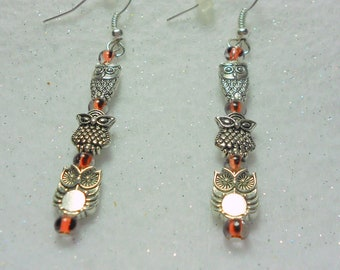 Halloween Earrings Silver Owl Totem Style Stick Earrings