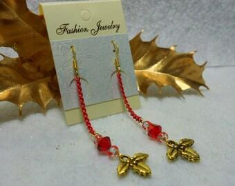 Christmas Earrings Holly Berry Chain Earrings