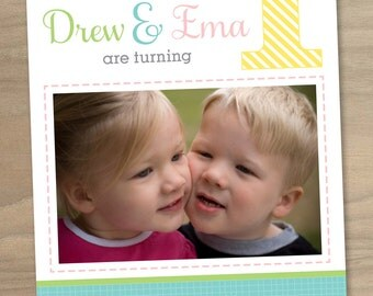 Baby Girl and Boy Twins First (1st) Birthday Photo Invitation - Twin Birthday Invitation - Custom Printable Digital File