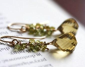 Whiskey quartz, peridot waterfall earrings
