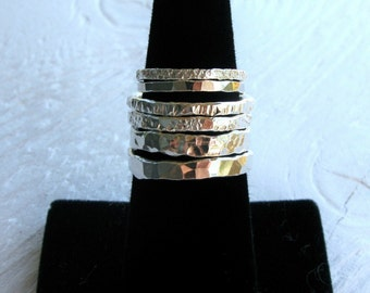 Stackable fine silver rings, set of FIVE rings