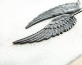 Black Wing Earrings Long Dangle Earrings Dangle Dark Patina Brass Fallen Angel Wings Cherub Faerie Wings Steampunk Gothic Romantic Jewelry