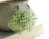 Patina Earrings, Green Filigree, Bright Chartreuse, Green Earrings, Cedar Green, Square Earrings, Summer Fashion
