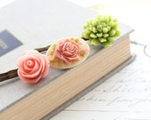 Flower Bobby Pins, Peach Pink Rose, Green Chrysanthemum, Rose Cameo, Floral Hair Accessories - Set of Three (3)