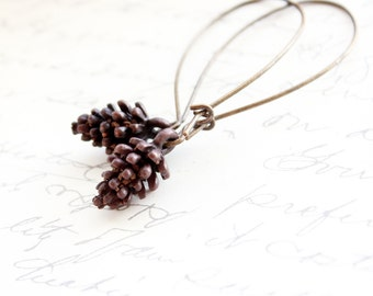 Long Earrings, Pine Cone Dangle Earrings Pinecone Rustic Brown Patina Brass Woodland Jewelry,  Forest Nature Inspired Jewellery
