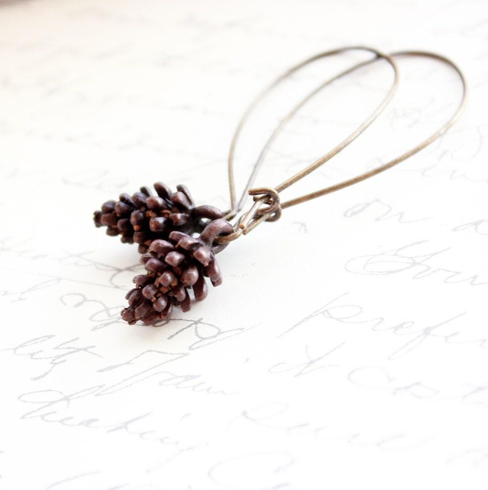 Long earrings pine cone dangle earrings pinecone rustic brown for Long pine cones