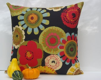 """Retro Floral Pillow Cover 20"""" x 20"""" inches."""