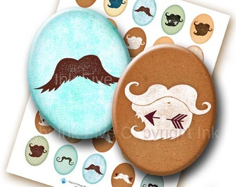 30x40 mm ovals Moustaches meet Arrows. Whimsical mustache images for cabochons, cameos, pendants. Printable oval digital sheet for download