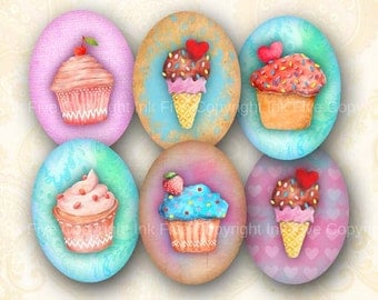 Sweet Muffins 30x40 mm watercolor ovals. Images for cabochons, cameos. Cupcakes ice cream modern digital download. 30x40 mm collage sheet