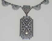 Art Deco Necklace Vintage 1930s Rhinestone Signed