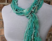 Teal, Blue & Green Skinny Scrappy Necklace Scarf - Ocean Breeze - Handmade