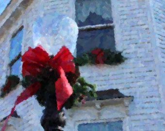 8x10 Photo Art Print of Old Lampost and White House Decorated for Christmas in Pendleton, Indiana