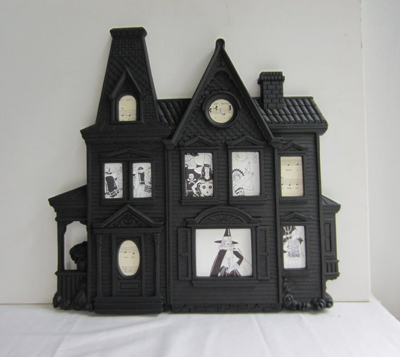 Altered Vintage - Hanuted House Silhouette Frame from Syroco Inc, Made in USA - Chalkboard Paint