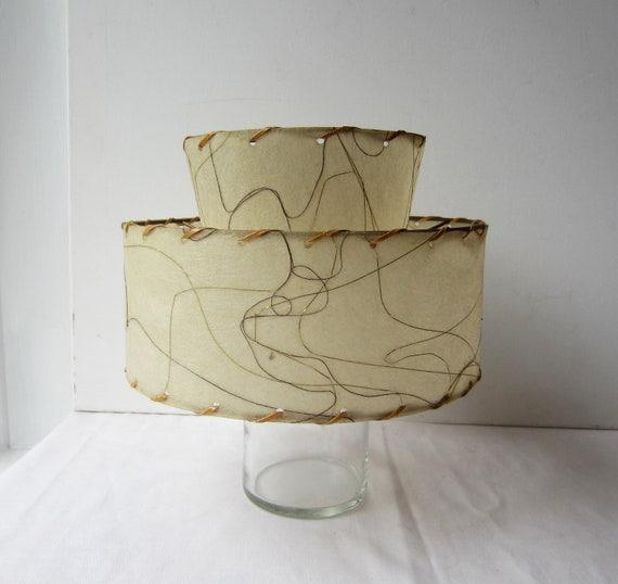 Vintage Mid Century Modern 2-Tier Parchment Lamp Shade - 9 Inch Diameter - Good Condition