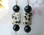 Holiday sale.  Polka Dot black and white Dalmation Jasper and Black Onyx balls casual Earrings