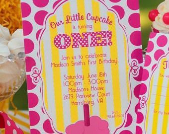 Cupcake Party Invitation | Cupcake Birthday Invitation | Cupcake 1st Birthday | Girl 1st Birthday invitation | Amanda's Parties To Go
