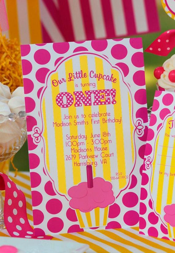 Cupcake Party Invitation   Cupcake Birthday Invitation   Cupcake 1st Birthday   Girl 1st Birthday invitation   Amanda's Parties To Go