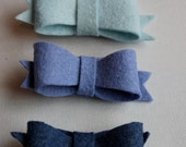 NEW Felt Bow No Slip Hair Clips -- Hanukkah Colors -- Winter Blues