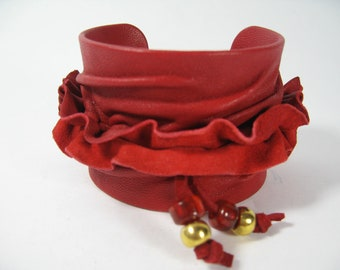 Red Ruffles Leather Cuff, Wide Wrap Suede  Wristband Statement Bracelet