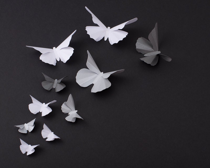 3d butterfly wall art metallic silhouettes for girls room for 3d wall butterfly decoration